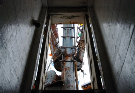 F/V Terra Nova, view up companionway to mast, by David W. Dunlap (2011).