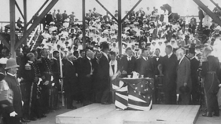 At the cornerstone laying ceremony in 1907, Sen. Henry Cabot Lodge can be seen to the left of President Theodore Roosevelt. Scrapbooks of Althea Boxell: Book 4, Page 99. Courtesy of the Provincetown History Preservation Project (Dowd Collection).