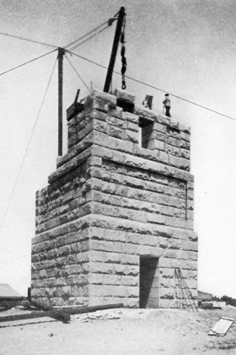 """The Pilgrim Monument in Construction. 40 Feet Above the Base."" From ""The Pilgrims and Their Monument"" (D. Appleton & Company, 1911)."