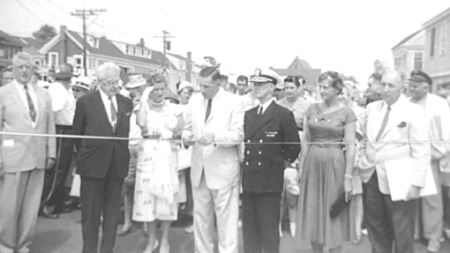 Rear Adm. Donald B. MacMillian and Miriam Macmillian, MacMillan Wharf, Provincetown (1957). Courtesy of the Provincetown History Preservation Project (MacMillan Collection).