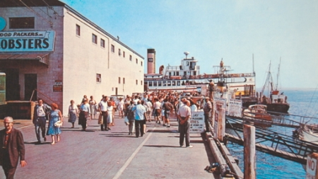 """Sea Food Packers Building, MacMillan Wharf, Provincetown (ND). """"Boston boat landing at town pier."""" Published by Mayflower Sales Company. Courtesy of the Pilgrim Monument and Provincetown Museum (Salvador R. Vasques III Collection, No. PC 4751)."""
