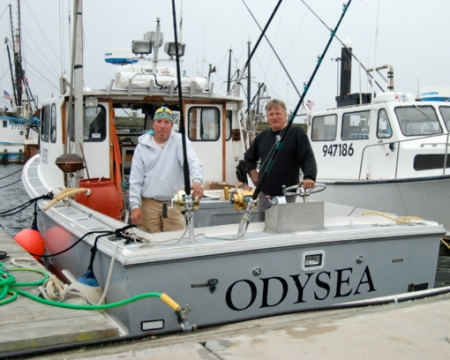 """Kit """"The Pirate"""" Vallee and Capt. Ralph Wilkins of the Odysea, Provincetown (2011), by David W. Dunlap."""