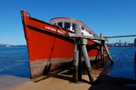 "Ancora Praia on the ""Portygee railway,"" MacMillan Wharf, Provincetown (2011), by David W. Dunlap."
