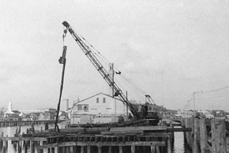 Railroad Wharf, Provincetown (1956). Scrapbooks of Althea Boxell: Book 5, Page 83. Courtesy of the Provincetown History Preservation Project (Dowd Collection).