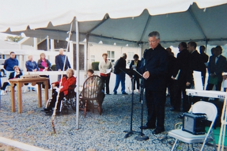 Groundbreaking, 11 Prince Street, Provincetown (2006). Parish scrap book. Courtesy of the Rev. Henry J. Dahl.
