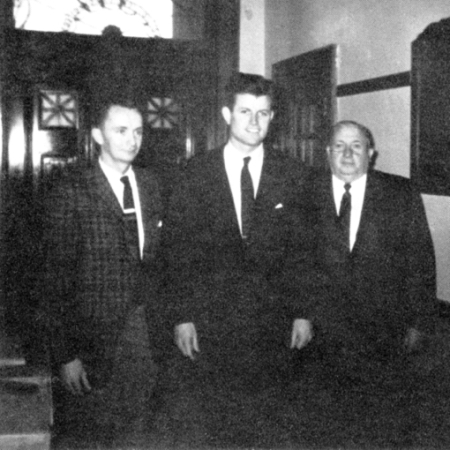 Superintendent William Roche, Assistant District Attorney Edward M. Kennedy of Suffolk County, Principal George F. Leyden. Long Pointer 1962. Author's collection.
