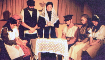 """""""Fiddler on the Roof,"""" with Lucas Colburn as Tevye and Anna Henning as Golde. Long Pointer 2001. Author's collection."""