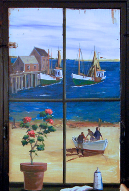 Mural by Nancy Whorf in the Mayflower Café, 300 Commercial Street (2009), by David W. Dunlap.