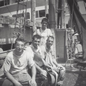 Sal Vasques (standing), Anthony Joseph, Victor Peters and Johnny Santos on F/V Reneva, from Salvador R. Vasques III.