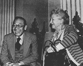 "I. M. Pei and Helen Hayes at the Unitarian Universalist Meeting House (1978). Photograph by Norma Holt from ""Design Charette: A Documentary,"" Provincetown Playhouse on the Wharf, November 1978. Courtesy of the Provincetown History Preservation Project (Municipal Collection)."