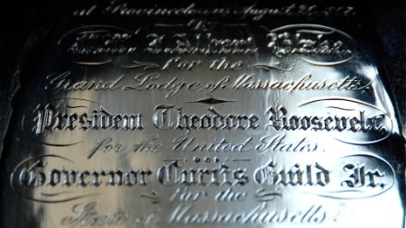 Trowel from the cornerstone laying of the Pilgrim Monument, 2 Masonic Place 17, Provincetown (2009), by David W. Dunlap.