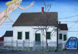 """""""Corner of Baker and Pearl,"""" by Jane Kogan (1983). Outer Cape Auctions."""