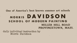 Advertisement in the First 1955 Exhibition Catalogue. Courtesy of the Provincetown Art Association and Museum.