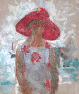 """Untitled (Woman With Red Hat,"" by Charles W. Hawthorne. Courtesy of the Provincetown History Preservation Project (Town Art Collection)."