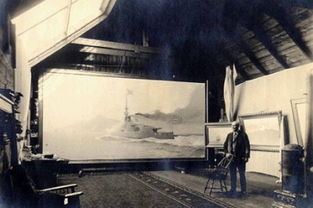 """William F. Halsall and His Painting of the Battleship Oregon in the Old Shirt Factory"" (ND), by John R. Smith. Courtesy of the Provincetown History Preservation Project."