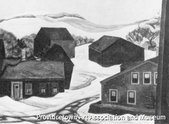 """""""Winter From the Shirt Factory Studio"""" (1920), by Ross E. Moffett. Collection of the Provincetown Art Association and Museum. From """"Figures in a Landscape: The Life and Times of the American Painter, Ross Moffett, 1888-1971."""""""