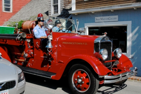Engine 4 in the Portuguese Festival parade, Provincetown (2011), by David W. Dunlap.
