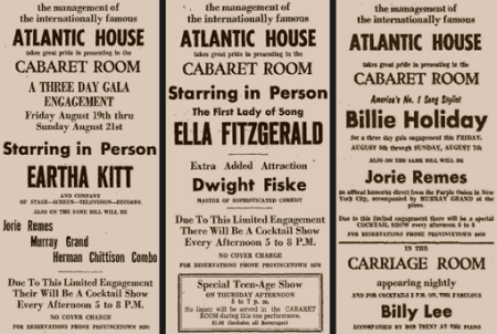 4 Masonic Place, Provincetown (1955). Adevrtisements in The Provincetown Advocate from 18 August 1955 (Kitt), 1 September 1955 (Fitzgerald), and 4 August 1955 (Holiday). From Provincetown Online: The Advocate Live!, by the Provincetown Public Library.