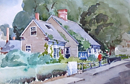 """""""The Oldest House in Provincetown,"""" by Wallace Basford. Outer Cape Auctions."""