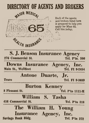 Advertisement in The Provincetown Advocate, 18 October 1962.