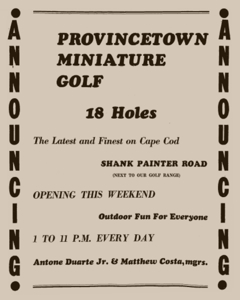 73-89 Shank Painter Road, Provincetown (1959). Advertisement in The Provincetown Advocate, 9 July 1959. From Provincetown Online: The Advocate Live!, by the Provincetown Public Library.
