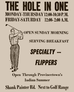73-89 Shank Painter Road, Provincetown (1960). Advertisement in The Provincetown Advocate, 13 October 1960. From Provincetown Online: The Advocate Live!, by the Provincetown Public Library.