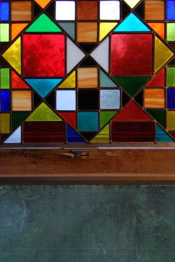 Stained glass by Jim Balla, 8 Miller Hill Road, Provincetown (2010), by David W. Dunlap.