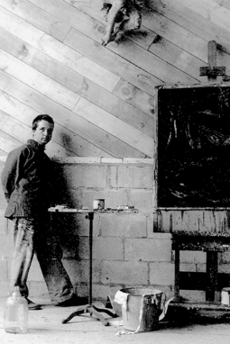 Fritz Bultman in his studio, 8 Miller Hill Road, Provincetown (ND). Courtesy of the Provincetown History Preservation Project.