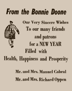Advertisement in The Provincetown Advocate, 31 December 1958. From Provincetown Online: The Advocate Live!, by the Provincetown Public Library.