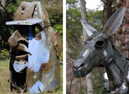 Jack Kearney sculptures, by David W. Dunlap (2011 and 2008).