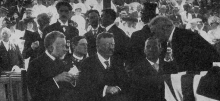 """President Theodore Roosevelt at the 1907 cornerstone laying, from """"The Pilgrims and Their Monument,"""" by Edmund J. Carpenter (1911)."""