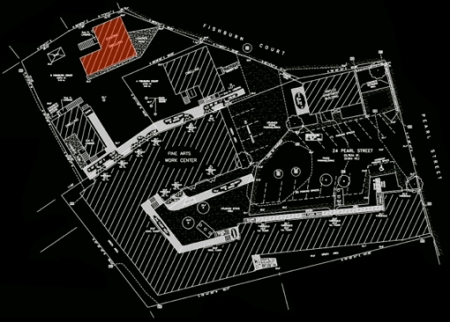 """""""Site Plan, Existing Conditions, 24 Pearl Street, 4 Fishburn Court and 6 Fishburn Court,"""" Prepared for Fine Arts Work Center by Felco, Inc."""