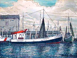Untitled watercolor by Malcolm Paul Newman (ND). Courtesy of the Provincetown History Preservation Project (Town Art Collection).