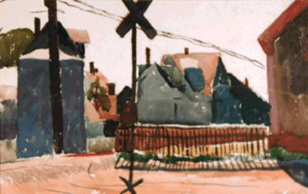 """""""Untitled (Railroad Crossing, Provincetown),"""" by Oakley A. Spingler. Courtesy of the Provincetown History Preservation Project (Town Art Collection)."""