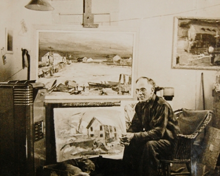 Charles Heinz in his studio (±1930).  Massachusetts Historical Commission Inventory, 1973-1977: Provincetown's West End. Courtesy of the Provincetown Public Library.