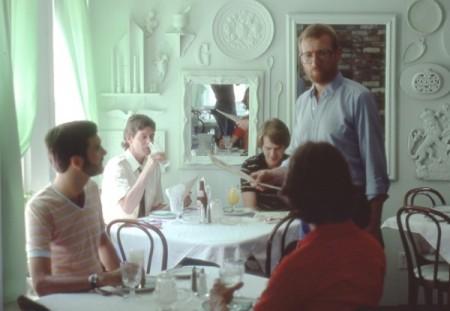 Gene Greene, standing, Terrace Restaurant, 133 Bradford Street, by David Jarrett (1981).