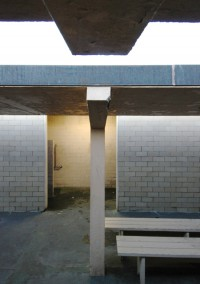 First Herring Cove Beach Bathhouse, shower area, by David W. Dunlap (2012).