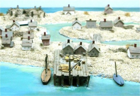 Model of Long Point settlement at the Pilgrim Monument and Provincetown Museum, by David W. Dunlap (2008).