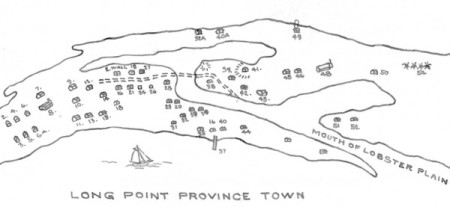 Above: Outline of Lobster Plain, by David W. Dunlap (2010). Below: House locations around Lobster Plain, courtesy of the Provincetown History Preservation Project.