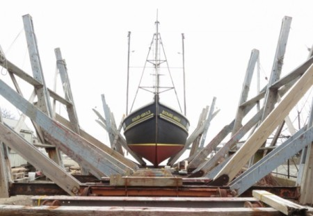"F/V Richard & Arnold ""on the rails"" at Taves Boatyard, 129R Commercial Street, by David W. Dunlap (2014)."