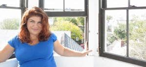 Jennifer Cabral in the cupola of 160 Commercial Street, by David W. Dunlap (2014)