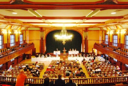 Town Meeting at Town Hall in 2011, by David W. Dunlap.