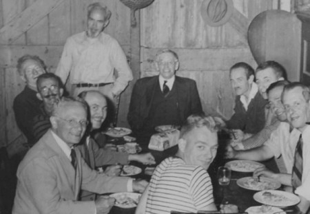465A Commercial Street, attending a Beachcombers dinner for the actor Edward Everett Horton in 1946 were Jere Snader, in striped shirt, facing the camera over his shoulder, and clockwise from him Rabbi Samuel L. Therman, of St. Louis; George Palmer, stage manager for Horton; Dr. Frederick S. Hammett; Harry Kemp; Vollian Burr Rann (standing); Ted Robinson of The Cleveland Plain dealer (in three-piece suit); Don Witherstine; Horton; Bruce McKain; and Elmer Greensfelder, courtesy of the Provincetown History Preservation Project.