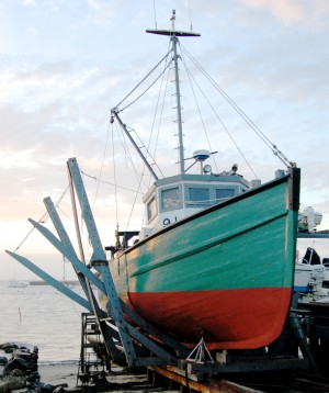 F/V Alison Marie on the rails at Taves Boatyard, by David W. Dunlap (2010).