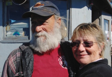 Capt. David Dutra and Judy Dutra aboard F/V Richard & Arnold, by David W. Dunlap (2012).