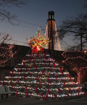 """Lobster Pot Tree and Pilgrim Monument With Lights,"" © by Ewa Nogiec."