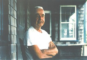 """Porch on the Bay"" (1995), by Raymond Elman, portrait of Mischa Richter père."