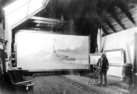 """William F. Halsall and His Painting of the Battleship Oregon in the Old Shirt Factory,"" by John R. Smith."