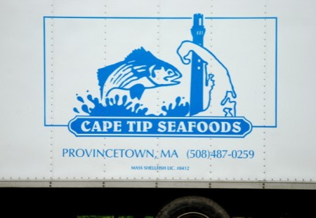 Donna Marie and a Cape Tip Seafoods truck at 45A Court Street, by David W. Dunlap (2012 and 2009).