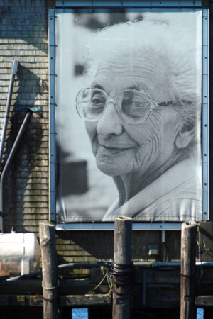 Norma Holt's portrait of Frances Raymond on Fishermen's Wharf, by David W. Dunlap (2011).